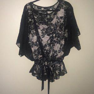 Dressbarn Dressy Black Lace Top